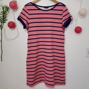 LANDS' END blue pink striped polo dress M